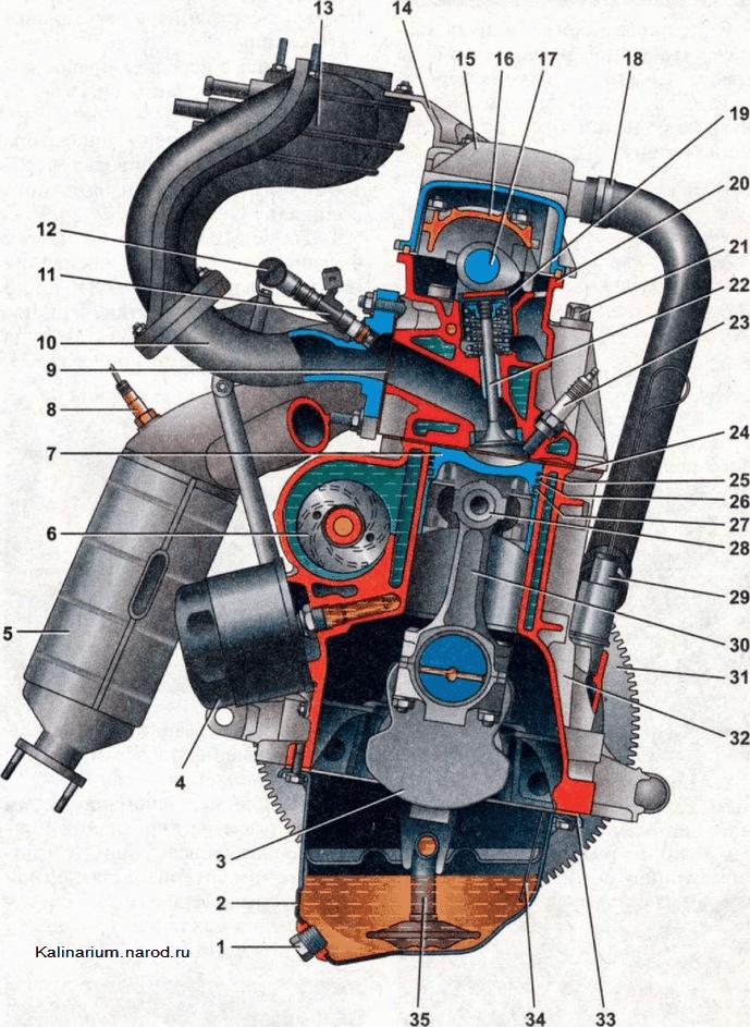 Поперечный разрез двигателя 1